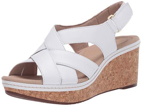 Clarks Women's Annadel Pearl Wedge Sandal, White Leather, 7.5