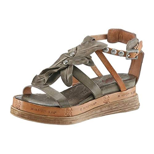 A.S.98 Airstep Damen Sandale Sandalette Ledersandale Khaki Schuhgröße EUR 37