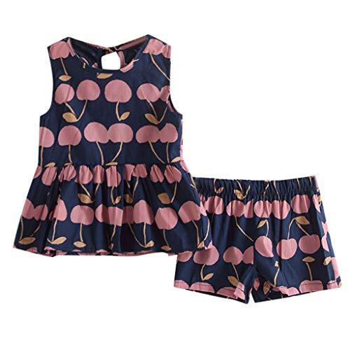JERFER Baby Mädchen Fruchtdruck Patchwork Gekräuselt Tops T-Shirt und Hose Outfits Set