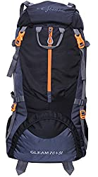 Gleam 0109 Climate Proof Mountain Rucksack, Backpack 75 Ltrs Black & Grey with Rain Cover,GLEAMTB75LTRSBLACK01092017