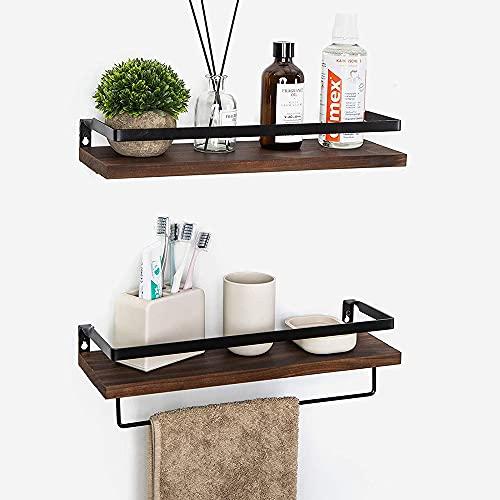 Estantería de pared de madera, 2 unidades con 8 ganchos para cocina, sala de estar, baño y otras decoraciones de pared