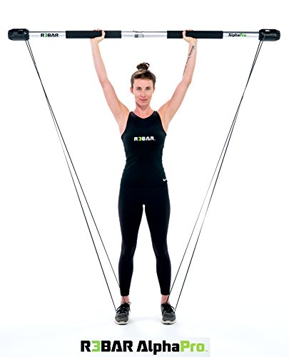 R3BAR AlphaPro Exercise Home Gym Strength & Conditioning Workout Training Tool, Beginner & Intermediate Resistance Bands and Resistance Bar Plus Travel Bag