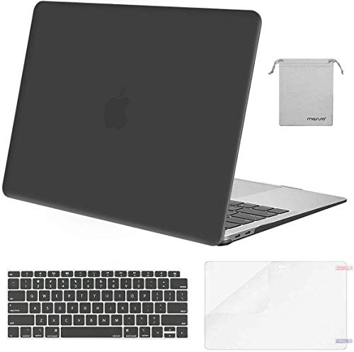 MOSISO MacBook Air 13 inch Case 2020 2019 2018 Release A2179 A1932, Plastic Hard Shell&Keyboard Cover&Screen Protector&Storage Bag Compatible with MacBook Air 13 inch Retina Display, Space Gray