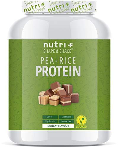 Plant Protein Powder Soy free - Pea Rice Nougat 1kg - VEGANES EIWEIßPULVER sojafrei - Proteinpulver ohne Soja, Gluten & Laktose - Eiweiß Pulver Vegan - In Deutschland hergestellt