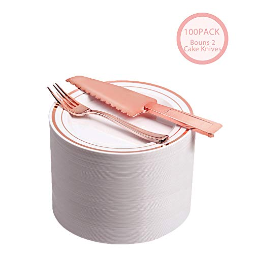 "100 Count Disposable Cake/Dessert Plates/Premium Quality Heavyweight Tableware Set/Elegant Plastic Plate & Cultery Sets: 7.5"" Rose Gold Trim Plate & Plastic fork- 2 pcs Bouns Cake Knife"