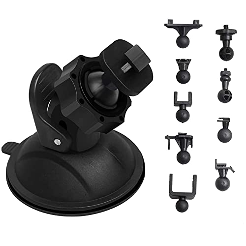 TiToeKi Dash Cam Suction Mount with 10+ Swivel Ball Adapters Compatible with Rexing V1, UGSHD, APEMAN, Byakov, Z-Edge, Roav, Old Shark, YI, UGSHD and Most Dash Cameras