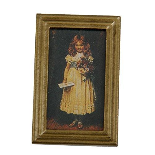 Peinture Murale Fille Mignonne Cadre en Résine Miniature pour 1/12 Maison de Poupée