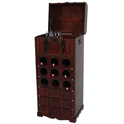 Mendler Weinregal Calvados T253, Flaschenregal Regal Holzregal für 9 Flaschen, Kolonialstil 104x45x38cm