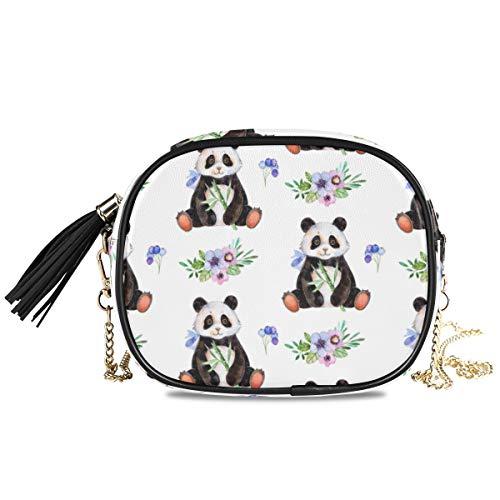 QMIN Umhängetasche, Aquarell, Panda, Blumen, kleine Handtasche, PU-Leder Schultertasche, Organizer mit Kettenriemen, Quasten für Frauen, Mädchen und Damen