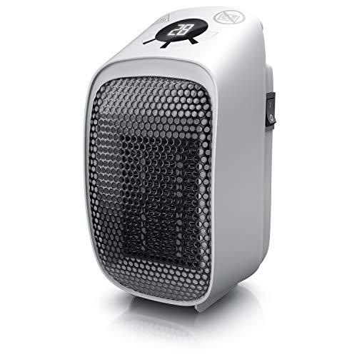 Brandson - Mini Calefactor cerámico 400W y enchufe - Mini Calentador - Temporizador de 1 a 12 horas - Termostato de 15 a 45 grados - Para conexiones verticales y horizontales - Portátil – Potente