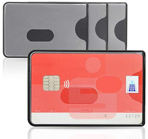 WallTrust RFID NFC Funda Protectora para Tarjetas de crédito, Set de 3 Unidades, Parte Frontal Transparente
