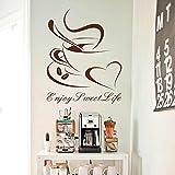 Diseño de arte vinilo barato decoración del hogar corazón taza de café etiqueta de la pared decoración de la casa hermosa etiqueta de la barra en la cocina bar o tienda 58 * 63 cm