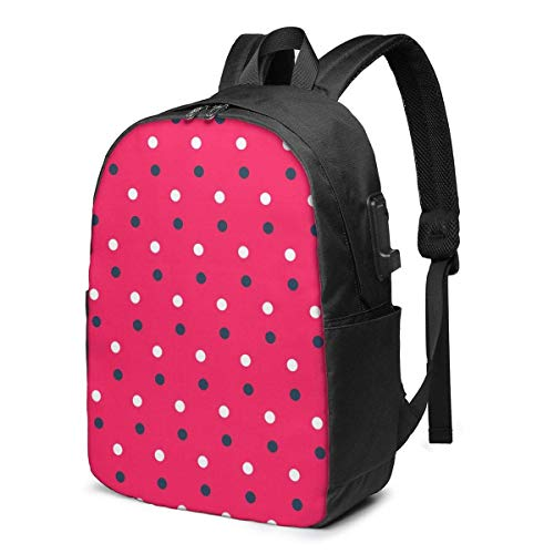 Travel Laptop Backpack, Rose Red Water Jade Point Travel Laptop Backpack College School Bag Casual Daypack with USB Charging Port