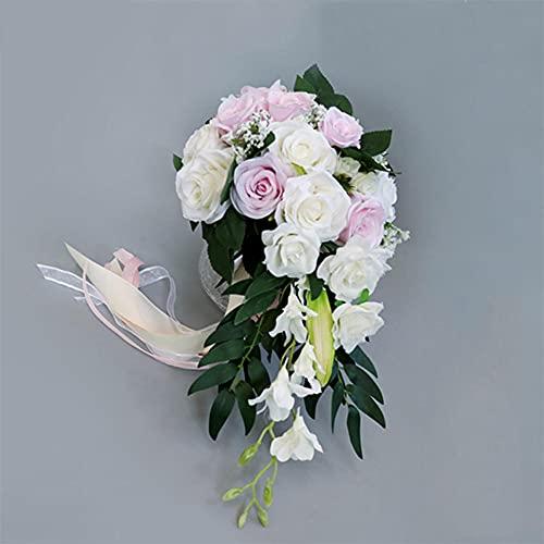 BAWAQAF Fiori artificiali, squisiti fiori da sposa a forma di goccia d'acqua che tengono a mano, fiori artificiali per damigella d'onore