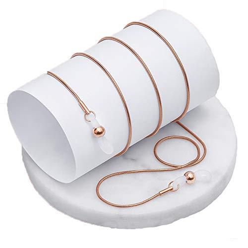 眼鏡 ストラップ ネックレス チェーン ステンレス グラスコード シンプルでおしゃれ 男女兼用 - ローズゴールド