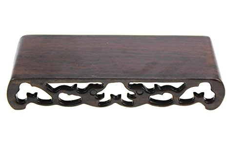 Oriental Furniture Chinese Black Rosewood Solid Mahagony Ebony Wood Display Stand Wooden Base Rectangle Rectangular Shape Pedestal with Carved (M 18cm7.5cm3cm)