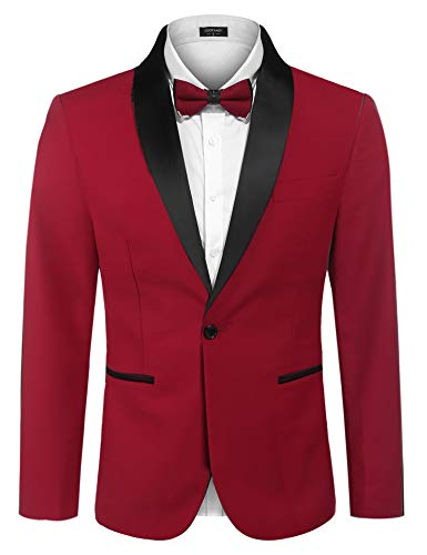 COOFANDY Men's Slim Fit Sport Coat Casual Tuxedo Jacket Shawl Lapel Dinner Jacket for Wedding,Party Red