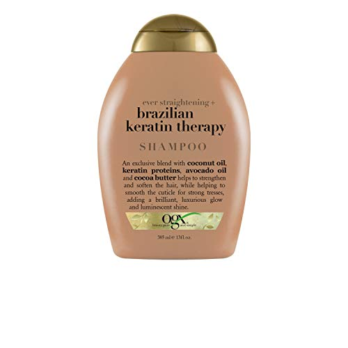 OGX Ever Straightening Brazilian Keratin Therapy Shampoo |With Coconut Oil, Keratin Proteins, Avocado Oil & Cocoa Butter, For Dry, Curly, Frizzy & Fine hair, Sulfate Free Surfactants, No Parabens, 385 ml