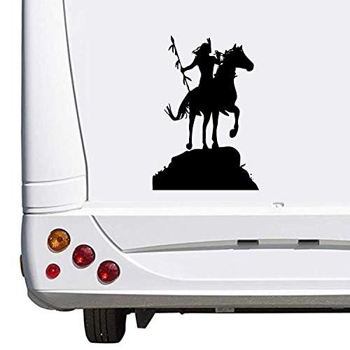 Superstiki, Indiaanse kruiwagen op paard, caravan, camping, vakantie, ca. Stickers, Womo Wowa, autostickers, 30 cm