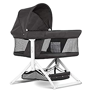 crib bedding and baby bedding dream on me insta fold bassinet | cradle | rocking bassinet | innovative folding design | perfect for indoor/outdoor | breathable mesh side| oxford carry bag included, black