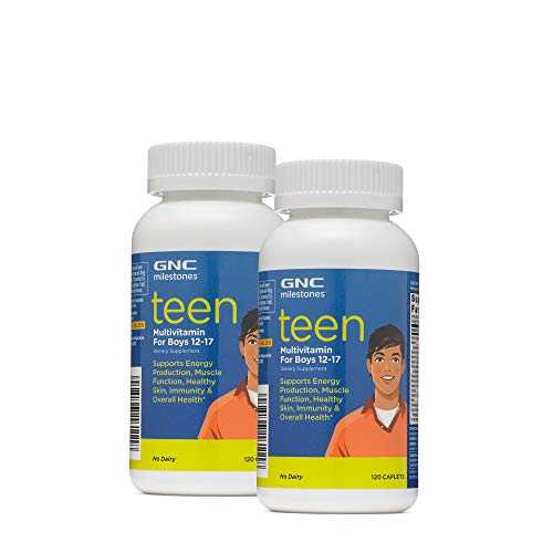 GNC Milestones Teen Multivitamin for Boys 12-17, Twin Pack, 120 Caplets per Bottle, Supports Energy Production and Muscle Function