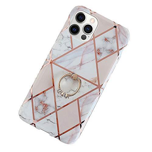 Kompatibel mit iPhone 12/iPhone 12 Pro 6.1 Hülle,Glänzend Bling Glitzer Marmor Design Muster Schutzhülle mit 360 Ring Ständer Ultra Dünn Weiches TPU Silikon Gel Bumper Handyhülle Hülle Case,#3