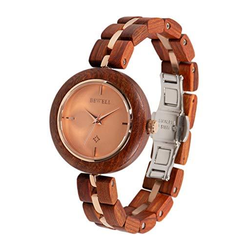 Bonarty Reloj de Pulsera de Madera para Mujer, Mecanismo de Cuarzo, con Pulsera de Madera, se Adapta a Cualquier ocasión, Boda y Fiesta