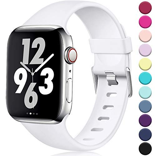 Laffav Compatible with Apple Watch Band 40mm 38mm for Women Men, White, S/M