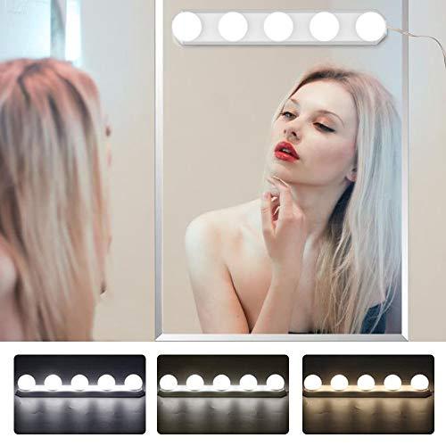 LED Spiegelleuchte, 5 LED Birne Hollywood Stil Schminklicht, USB Dimmbar Spiegel Beleuchtung, Make-up Lampe Leuchte Licht für Kosmetikspiegel Badzimmer Schminktisch (Weiß)