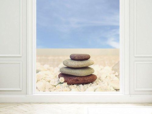 GRAZDesign raamfolie Wellness - privacy film stenen - plakfolie venster lounge / 220005 110x57cm