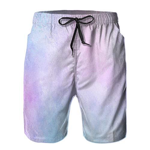 Men'sBeachBoardShortsPants,Smooth Pastel Light Pink Purple Shades,SwimTrunksQuickDryMeshLiningSwimwear M