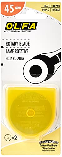 OLFA 1079062 RB45-2 45mm Straight Edge Rotary Blade, 2-Pack
