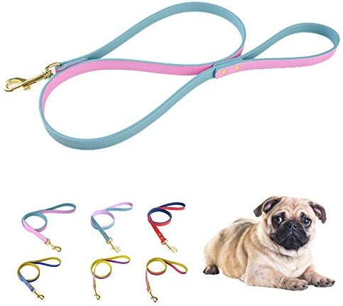 keezeg Blue Leather Dog Leash 4 Foot 0 8 Wide Genuine Leather Leash with Metal Clasp Swivel product image