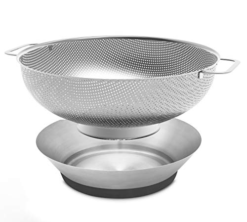 Pasta Strainer Colander Stainless Steel - Metal Strainer Colander with Handles and Bowl, 3.8 Quart Micro-Perforated Strainer for Pasta, Noodles, Orzo, Vegetables, Fruits and More, Dishwasher Safe