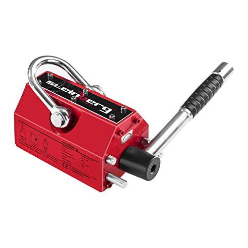 Steinberg Systems - Lasthebemagnet Kranmagnet (300 kg Hebeleistung, 900 kg Zugkraft, -40° bis 80° Temperaturbereich, Abschaltefunktion) Rot