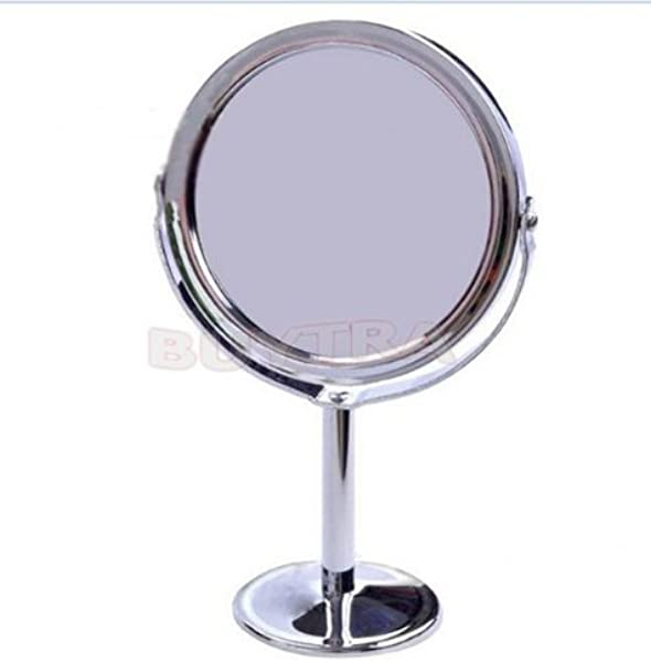 BESTIM INC NEW Cosmetic Compact Double Dual Sided Magnifying Stand Mirror Round Shape Makeup