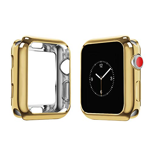 top4cus 42mm Cover Environmental Soft Flexible TPU Anti-Scratch Lightweight Protective 42mm Iwatch Case Compatible with Apple Watch Series 6 Series SE Series 5 Series 4 Series 3/2/1 - Gold