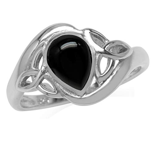 Silvershake Genuine Pear Shape Black Onyx White Gold Plated 925 Sterling Silver Triquetra Celtic Knot Ring Size 10