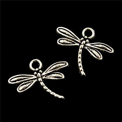 HGFJG 10Pcs Charms Dragonfly 18 * 15Mm Antique Pendant Fit Vintage Tibetan Silver Diy For Bracelet Necklace Key Ring