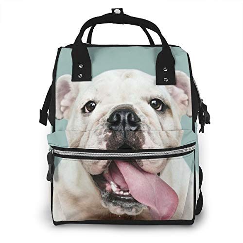 Risating Portable Baby Changing Bag Cute White Bull Terrier Multi-Function Waterproof Diaper Rucksack Lightweight Nappy Backpack Large Capacity Diaper Tote Bag for Mom and Dad