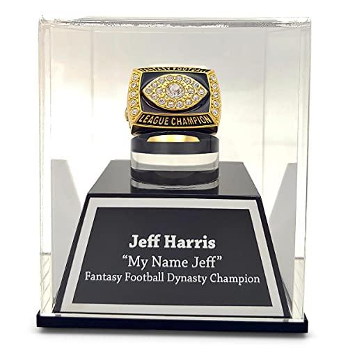 FANTASYJOCKS Custom Acrylic Championship Ring Display Case with Customizable Laser Engraving