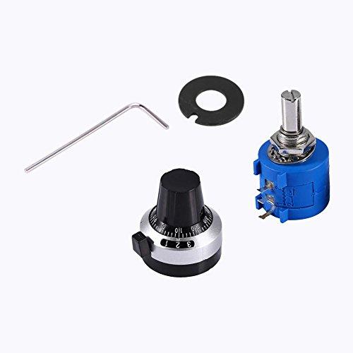 Candeon Potenciómetro de precisión bobinado con Alambre multivuelta 10K Ohm 3590S-2-103L Potenciómetro 10 Vueltas + Perilla