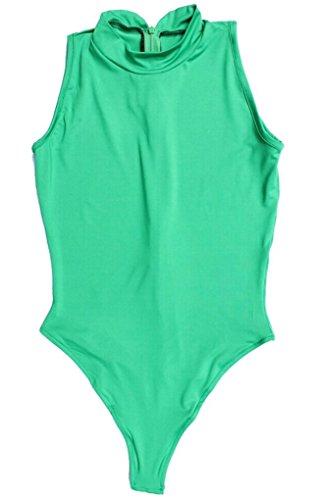LinvMe Women's Sexy Bodysuit Thong Leotard Sleeveless Lingerie S Green