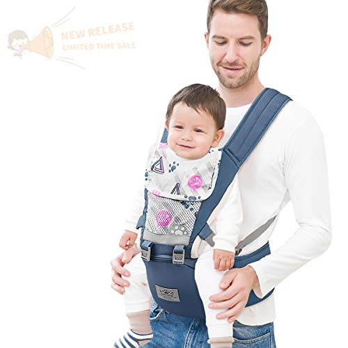 FRUITEAM 6-in-1 Baby Carrier, Baby Carrier with Waist Stool, New Update Design, Easy Care for Newborn Toddler, for 0-36 Months and 22lb-40lb (Eveningmist Blue)
