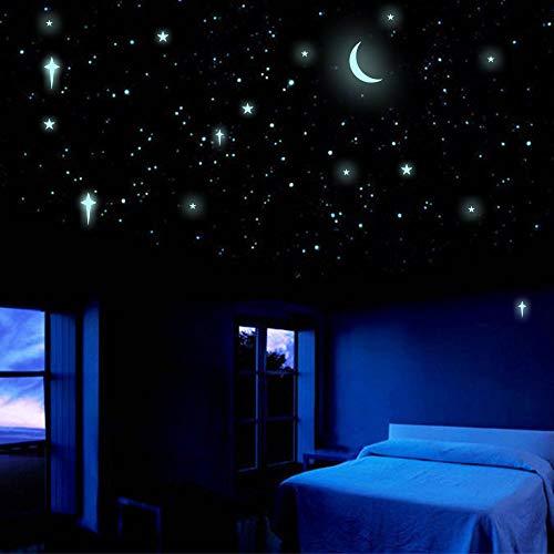 Glow in The Dark Stars with Crescent Moon, Luminous Stars, Moon, Dots, Cross, Fluorescent Stickers,...
