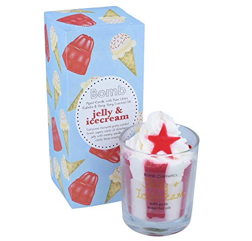 Bomb Cosmetics Jelly & Ice Cream Scented Piped Candle; Soy Wax Blend; Strawberries & Ice Cream Fragrance; 30-35 Hour Burn; Designed in UK