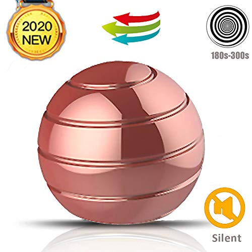 BOBOSOW Kinetic Desk Stress Relief Toy,Office Executive Metal Fidget Spinning Ball for Adults & Kids, Spinner Toys for ADHD & Eliminate Anxiety & Keep Focus & Relaxing (Rose Gold)