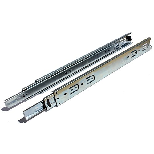 GlideRite Hardware 1670-ZC-10 16 inch 100 lb 1 inch 10 Pack 16' Side Mount Full Extension Ball Bearing Drawer Slides with 1' Over-Travel, Silver