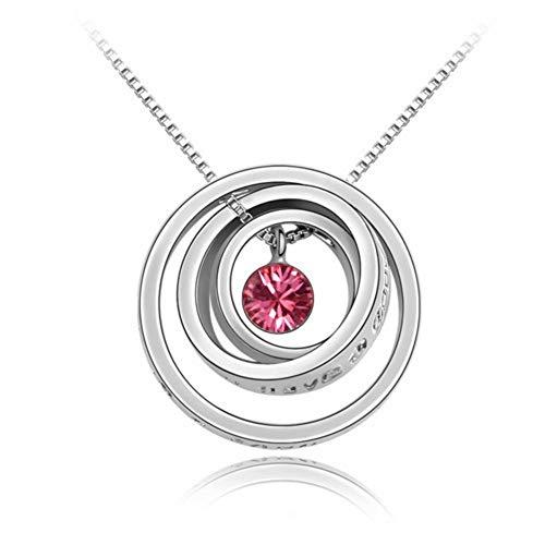 NSXLSCL Vrouwen Ketting Geometrische Drie-Ring Cirkel Rose Goud Kristal Hanger Ketting, Voor Vriendin Gift