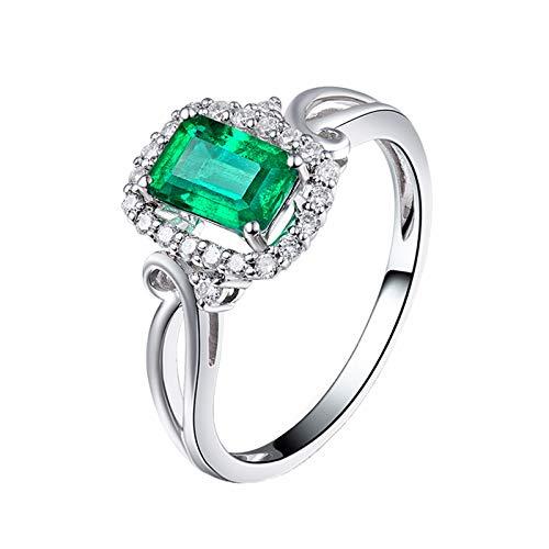 AnazoZ Anillos Mujer Diamantes Esmeraldas,Anillo Oro Blanco Mujer 18K con Diamantes Plata Verde Rectángulo Esmeralda Verde 0.76ct Diamante 0.21ct Talla 18,5